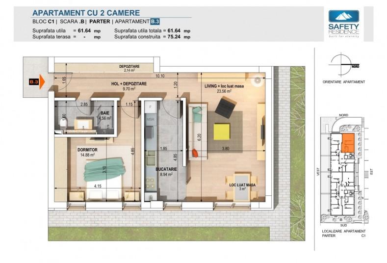 Apartamente 2 camere - nr.1A/3B - C1, 61.64 mp, Safety Residence 2