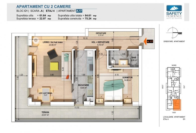 Apartamente 2 camere - nr. 5A/9A/13A/17A - C1, 61.64 mp, Safety Residence