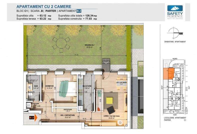 Apartamente 2 camere - nr.2B -C1, 63.12 mp, Safety Residence 2