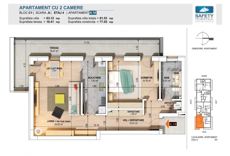 Apartamente 2 camere - nr. 10A/14A/18A - C1, 63.12 mp, Safety Residence 2
