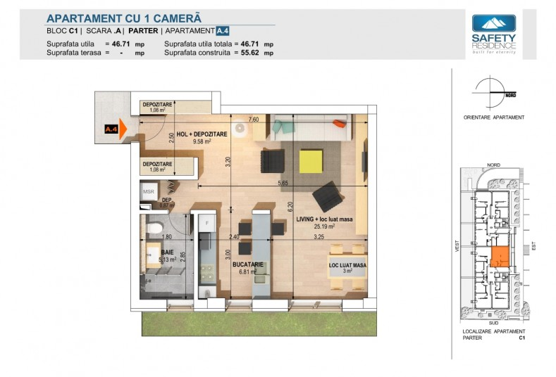 Garsoniere - nr. 4A - C1, 46.71 mp, Safety Residence 2