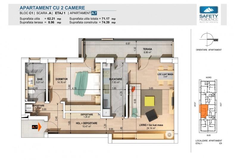 Apartamente 2 camere - nr. 7A/11A/15A/19A, 62.21 mp, Safety Residence 2
