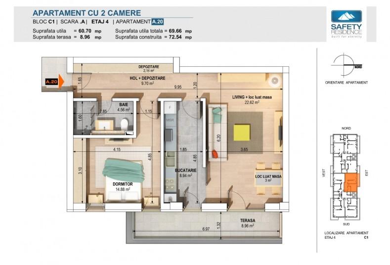 Apartamente 2 camere - nr. 12A/16A/20A, 60.7 mp utili, Safety Residence 2