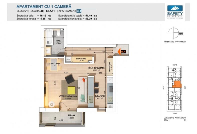 Garsoniere - nr. 4B/8B/12B/16B, 46.13, Safety Residence 2