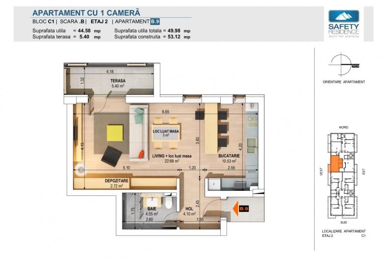 Garsoniere - nr.5B/9B/13B/17B, 44.58 mp, Safety Residence 2