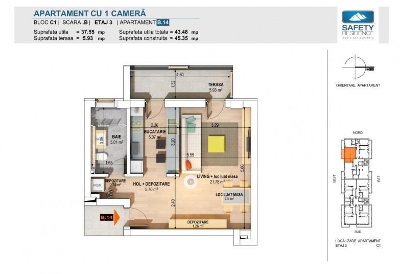 Garsoniere -nr. 6B/10B/14B/18B - C1, 37.55 mp, Safety Residence 2