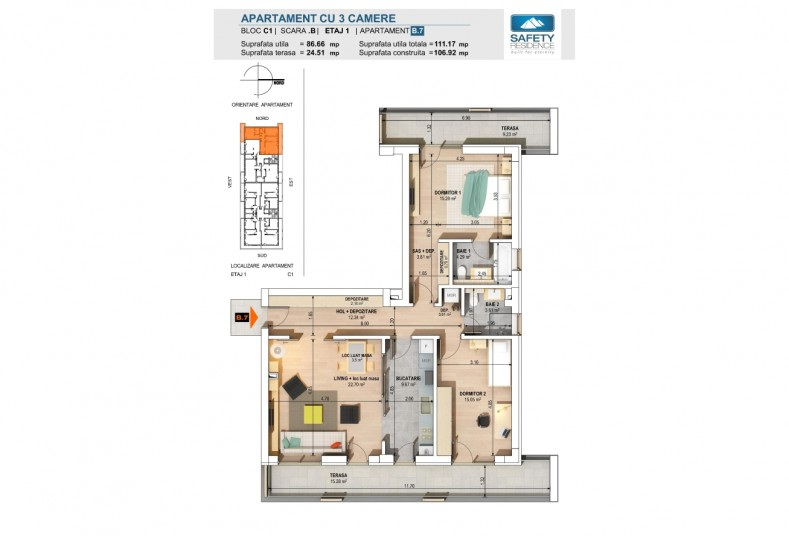 Apartamente 3 camere - nr. 7B, 86.66 mp, Safety Residence 2