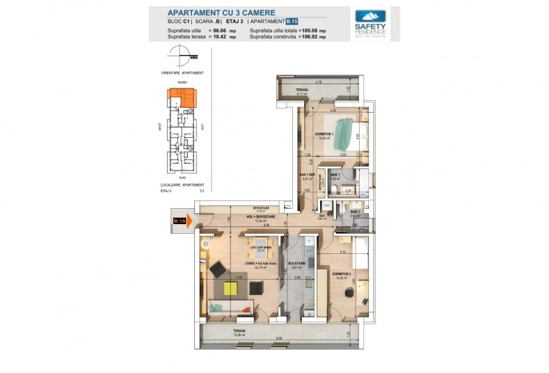 Apartamente 3 camere - nr. 11B/15B/19B, 86.66 mp, Safety Residence 2