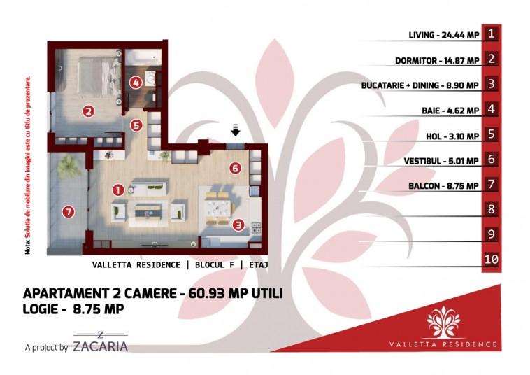 Apartamente 2 camere -bloc F, 60 mp, Valletta Residence