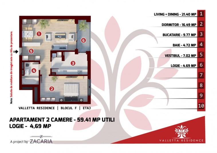 Apartamente 2 camere - bloc F, 60 mp, Valletta Residence