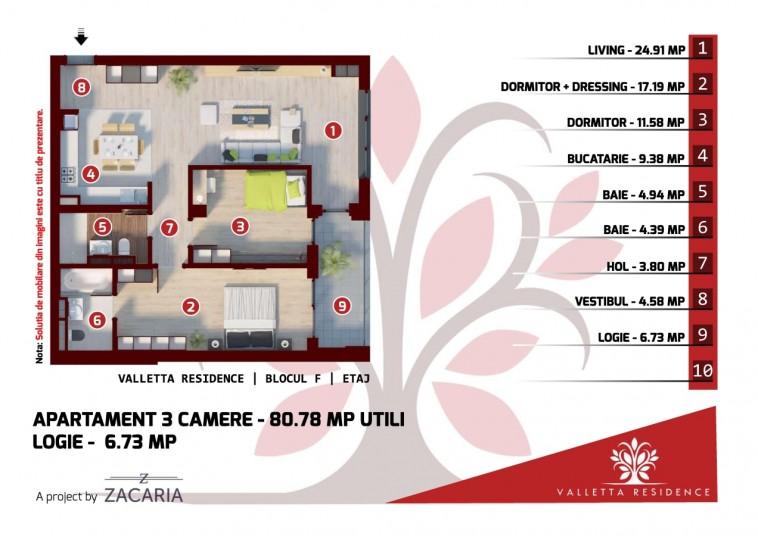 Apartamente 3 camere - bloc F, 81 mp, Valletta Residence