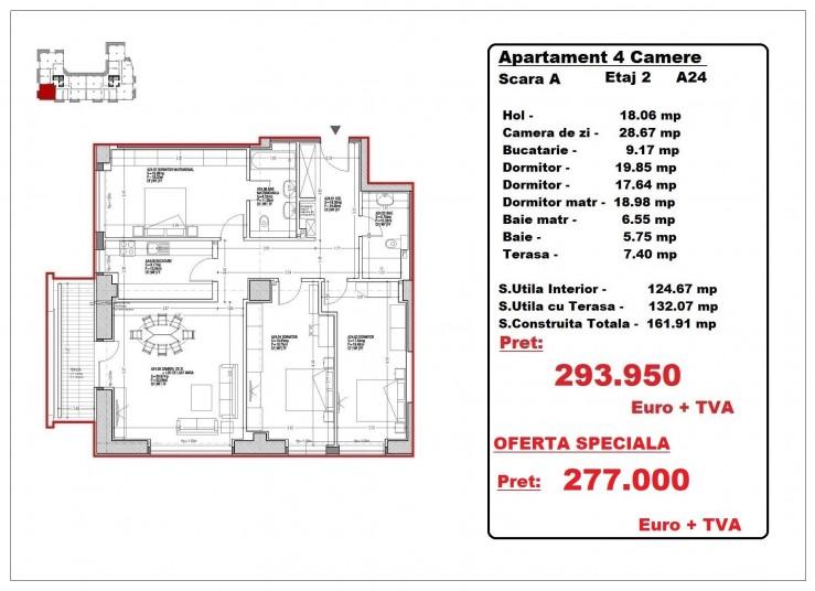 Apartamente 4 camere – A24/etaj 2, 132.07 mp, Gafencu Residence