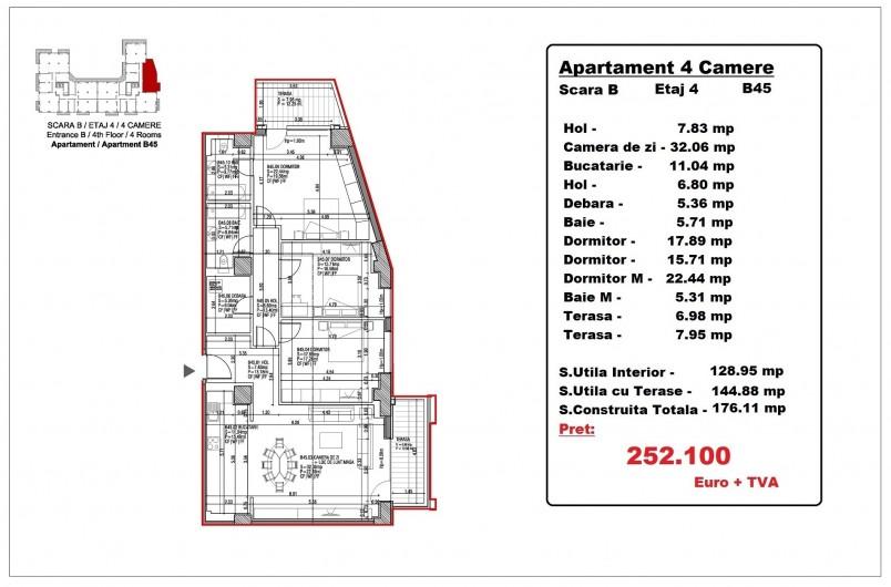 Apartamente 4 camere – B45/etaj 4, 144.88 mp, Gafencu Residence