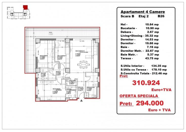 Apartamente 4 camere – B26/etaj 2, 178.10 mp, Gafencu Residence