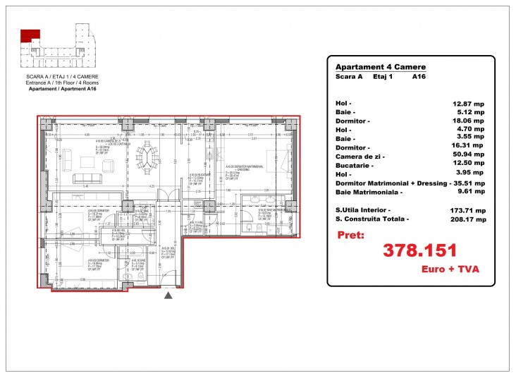 Apartamente 4 camere –A16/etaj 1, 173.71  mp, Gafencu Residence