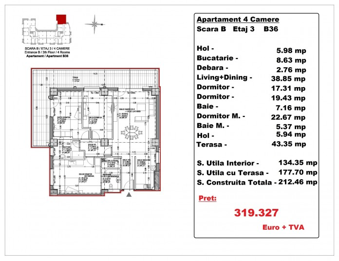 Apartamente 4 camere – B36, 177.70 mp, Gafencu Residence
