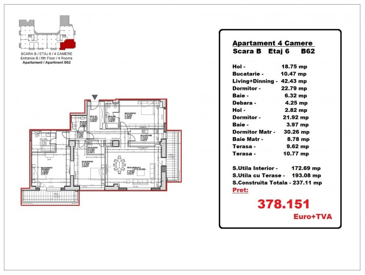 Apartamente 4 camere – B62/etaj 6, 193.08 mp, Gafencu Residence