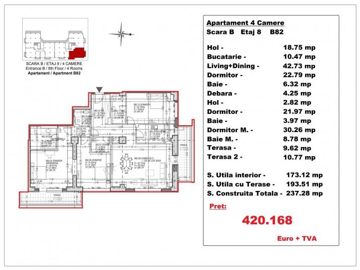 Apartamente 4 camere – B82/etaj 8, 193.51 mp, Gafencu Residence