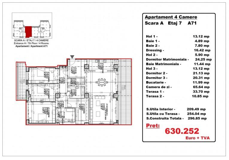 Apartamente 4 camere – A71/etaj 7, 254.04 mp, Gafencu Residence