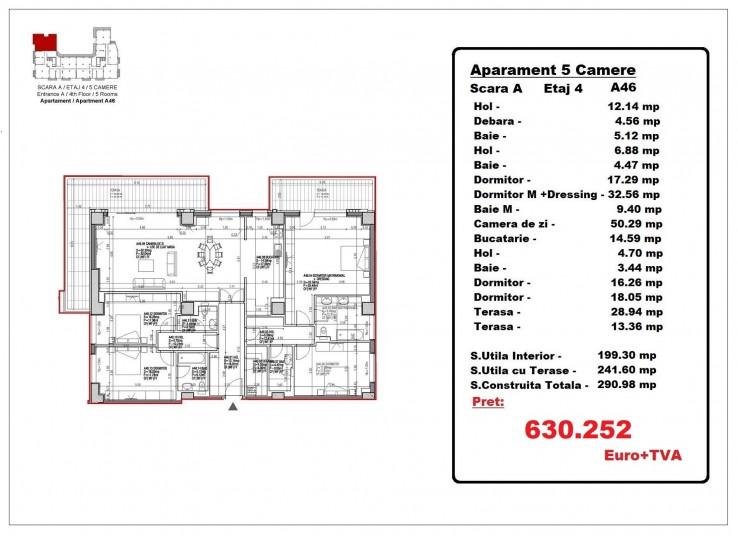Apartamente 4 camere – A46/etaj 4, 241.60 mp, Gafencu Residence