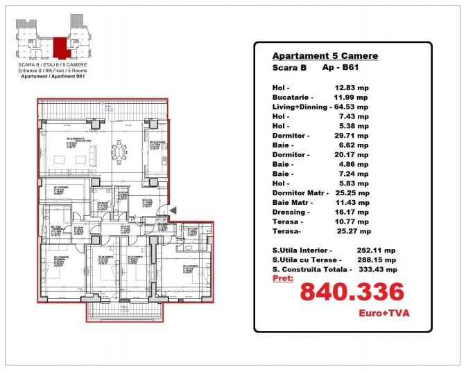 Apartamente 5 camere – B61/ etaj 6, 288.15 mp, Gafencu Residence
