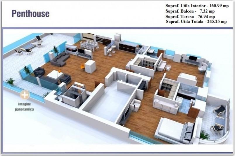 Penthouse 4 camere - etaj 8, 245.25 mp, Floreasca Lake