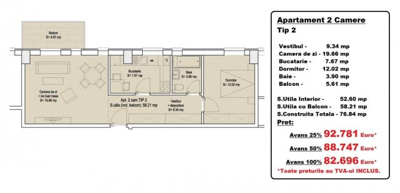 Apartamente 2 camere - tip 2, 52.60 mp, Vitan Residence 7