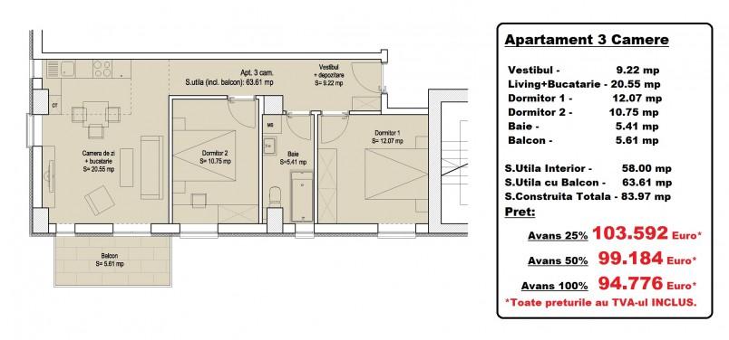 Apartamente 3 camere - tip 1, 58 mp, Vitan Residence 7