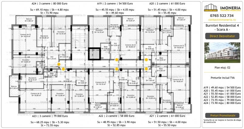 Apartamente 3 camere - etaj 2/ scara A, Burnitei Residential
