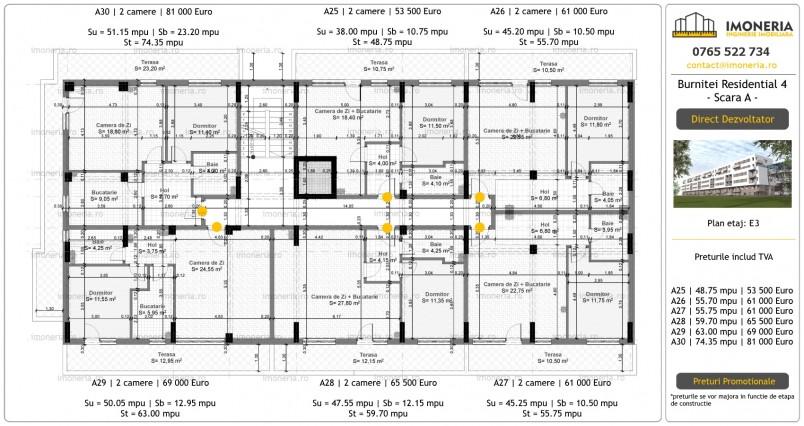 Apartamente 2 camere - etaj 3 / scara A, Burnitei Residential