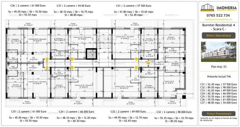 Apartamente 3 camere - etaj 3/scara C, Burniței Residential