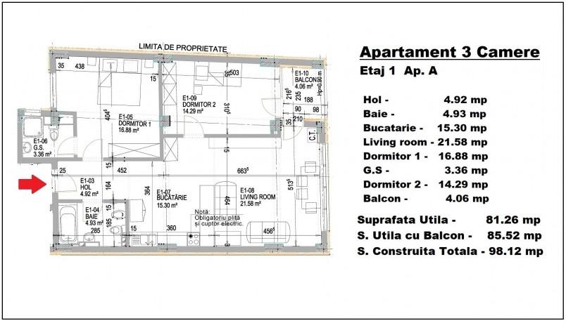 Apartament 3 camere - A/etaj 1, 81.26 mp, Eminescu 74 Residence