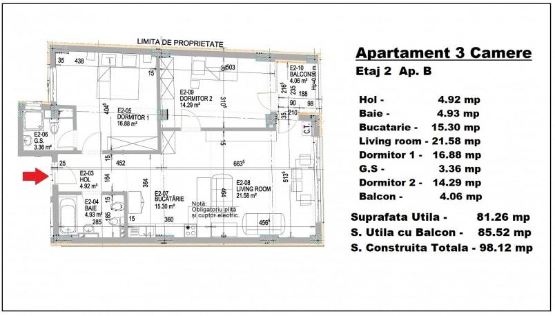 Apartament 3 camere - B/etaj 2, 81.26 mp, Eminescu 74 Residence