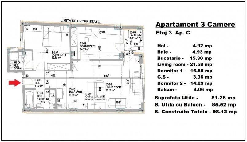 Apartament 3 camere - C/etaj 3, 81.26 mp, Eminescu 74 Residence