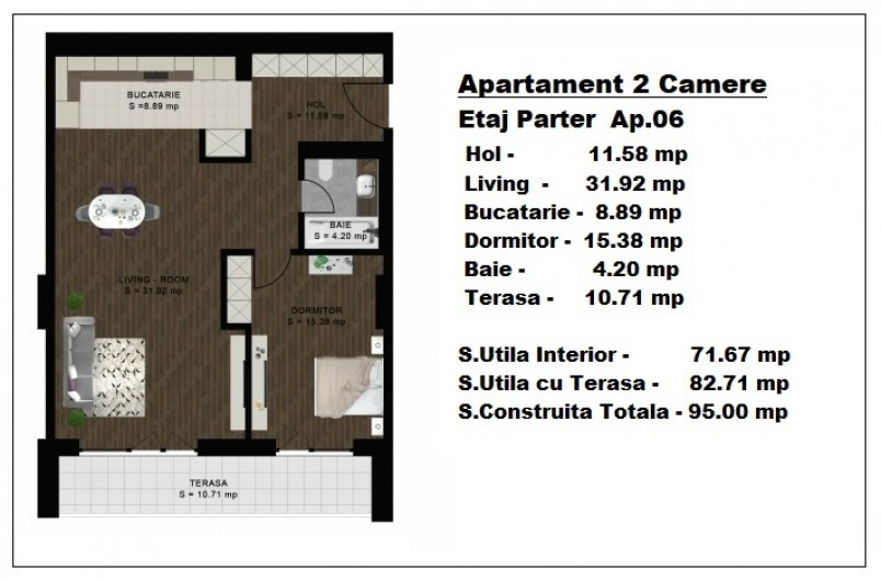 Apartament 2 camere - ap 6/parter, 71.67 mp, Atlas Park Condominium