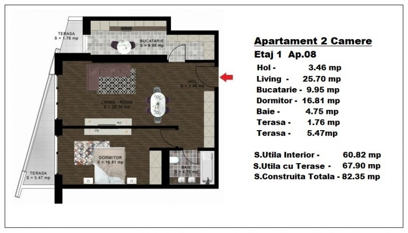 Apartament 2 camere - ap 8/etaj 1, 60.82 mp, Atlas Park Condominium