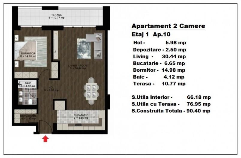 Apartament 2 camere - ap 10/etaj 1, 66.18 mp, Atlas Park Condominium