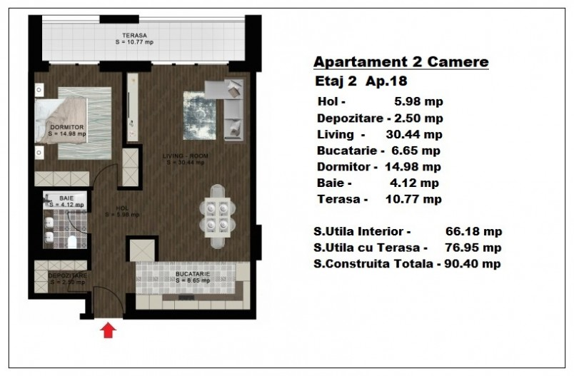 Apartament 2 camere - ap 18/etaj 2, 66.18 mp, Atlas Park Condominium