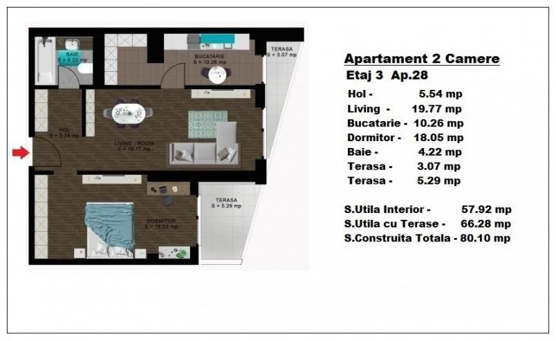 Apartament 2 camere - ap 28/etaj 3, 57.92 mp, Atlas Park Condominium