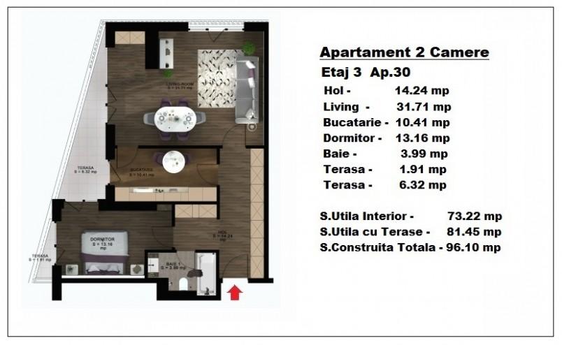 Apartament 2 camere - ap 30/etaj 3, 73.22 mp, Atlas Park Condominium