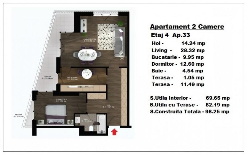 Apartament 2 camere - ap 33/etaj 4, 69.65 mp, Atlas Park Condominium