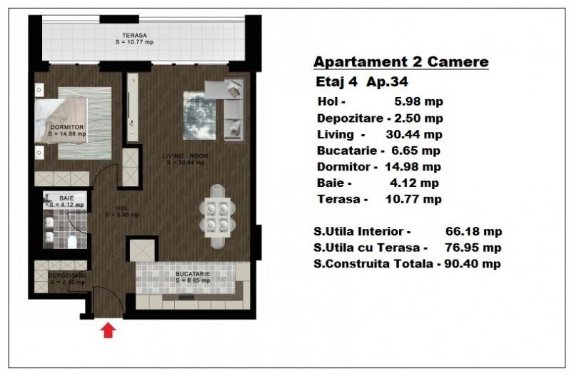 Apartamente 2 camere - ap 34/etaj 4, 66.18 mp, Atlas Park Condominium