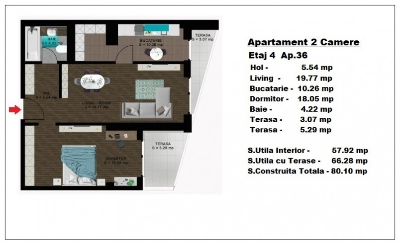 Apartament 2 camere - ap 36/etaj 4, 57.92 mp, Atlas Park Condominium