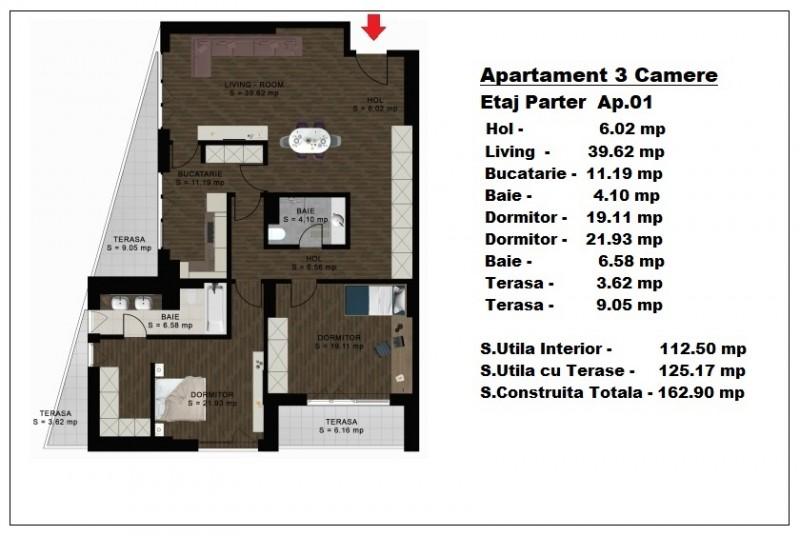 Apartament 3 camere - ap 1/parter, 112.50 mp, Atlas Park Condominium