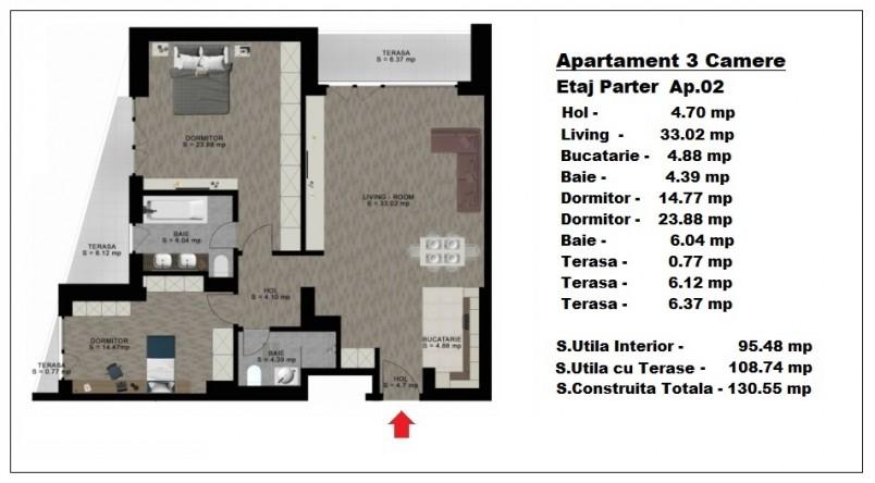 Apartament 3 camere - ap 2/parter, 95.48 mp, Atlas Park Condominium