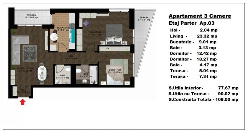 Apartament 3 camere - ap 3/parter, 77.67 mp, Atlas Park Condominium