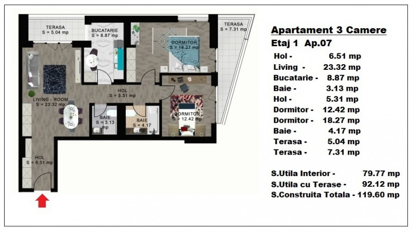 Apartament 3 camere - ap. 7/etaj 1, 79.77 mp, Atlas Park Condominium