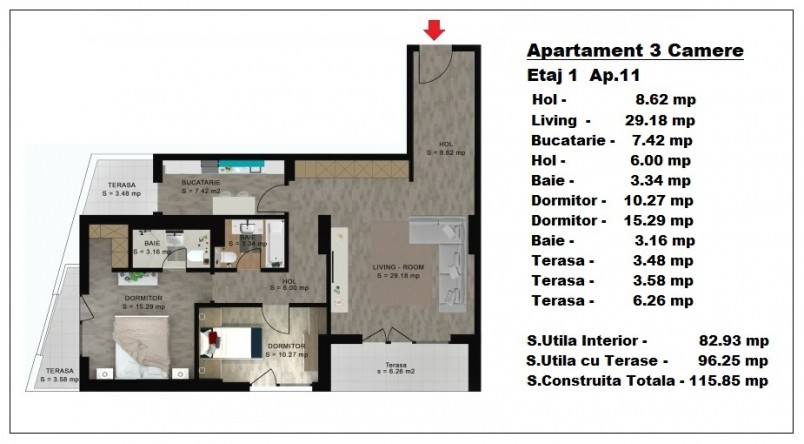 Apartament 3 camere - ap 11/etaj 1, 82.93 mp, Atlas Park Condominium