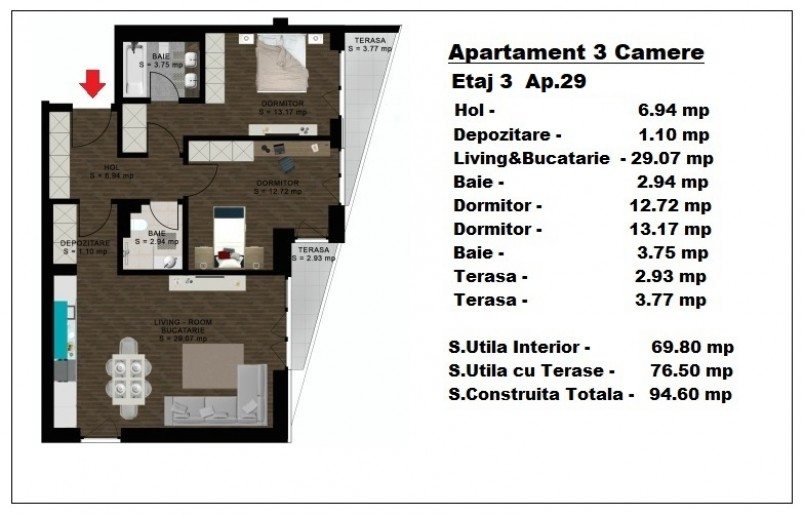 Apartament 3 camere - ap 29/etaj 3, 69.80 mp, Atlas Park Condominium