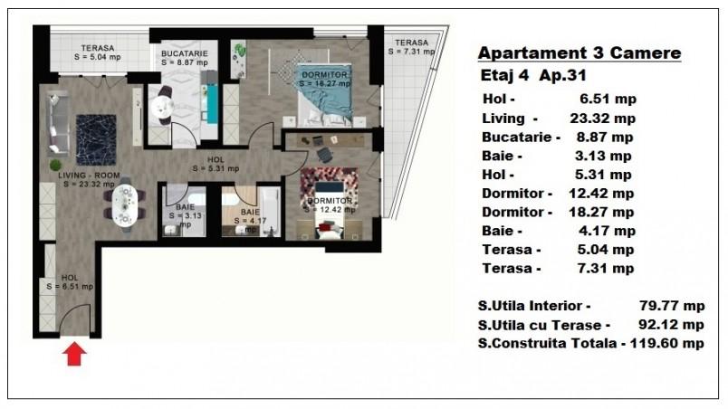 Apartament 3 camere - ap 31/etaj 4, 79.77 mp, Atlas Park Condominium